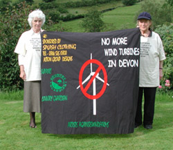 Angela                 Kelly and Ann West with Banner from Devon